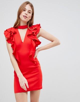 Glamorous Frill Choker neck Dress-Red