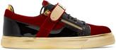 Giuseppe Zanotti Red & Black Velvet London Sneakers