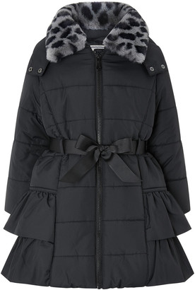 Under Armour Black Frill Padded Coat with Detachable Faux Fur Collar Black