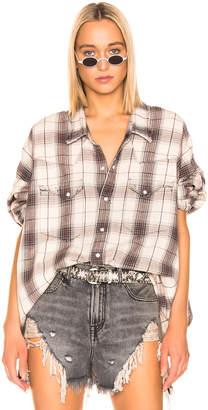 R 13 Oversized Cowboy Shirt in Ecru Plaid | FWRD