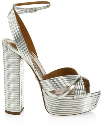 Aquazzura Sundance Platform Metallic Sandals