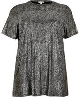 River Island Womens Plus silver metallic T-shirt
