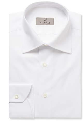 Canali White Slim-Fit Cotton-Twill Shirt