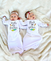White 'Birds Of A Feather' Gown Set - Infant