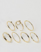 Asos Limited Edition Pack of 7 Fine Toggle Rings