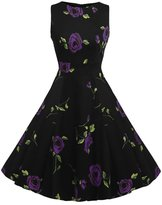 Lecimo Vintage 1950's Floral Summer Spring Garden Party Picnic Cocktail Dress (,Size XXL)