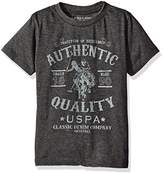 U.S. Polo Assn. Boys' Short Sleeve Crew Neck Half Burnout Graphic T-Shirt