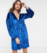 Asos Tall DESIGN Tall long sleeve velvet smock dress