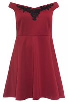 Quiz Curve Berry And Black Embroidered Skater Dress