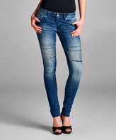 Blue Denim Stud-Accent Jeans