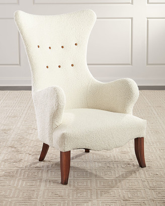Old Hickory Tannery Ariana Faux Sheepskin Wing Chair