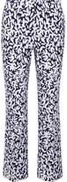 Oscar de la Renta Cropped Printed Stretch-canvas Straight-leg Pants - White