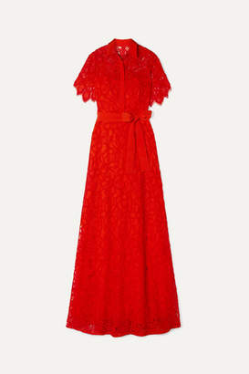 Lela Rose Corded Lace Gown - Red