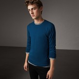 Burberry Check Jacquard Detail Cashmere Sweater , Size: XXL, Blue