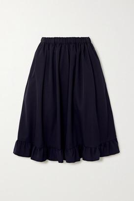 COMME DES GARÇONS GIRL Ruffled Wool-gabardine Midi Skirt - Navy