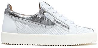 Giuseppe Zanotti Gail Metallic-trimmed Snake-effect Leather Sneakers