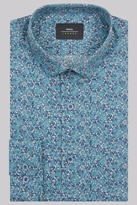 Moss Bros Extra Slim Fit Teal Single Cuff Floral Shirt