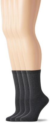 Peds Women's Charcoal Heather Ladies Dress Crew Socks 4 Pairs