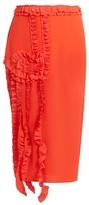 Rochas Ruffle-trimmed silk crepe de Chine skirt