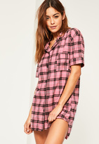 Missguided Pink Checked Short Sleeve Nightshirt