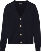 Miu Miu Cropped Embellished Cashmere Cardigan - Midnight blue