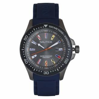 Nautica Men's Jones Beach Stainless Steel Japanese-Quartz Silicone Strap Grey 21.8 Casual Watch (Model: NAPJBC008