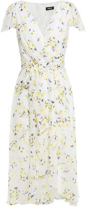 DKNY Wrap-effect Floral-print Crepon Dress