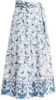 Peter Pilotto Bird-print wide-leg stretch-cotton poplin culottes