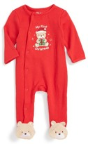 Little Me Infant Boy's Teddy Bear Holiday Footie
