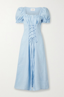 Sleeper Marquise Lace-up Linen Midi Dress - Sky blue