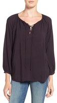 Velvet by Graham & Spencer Women's Challis Lace-Up Blouse