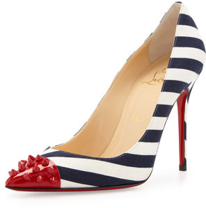 Christian Louboutin Geo Spike Point-Toe Striped Pump, Red/Navy