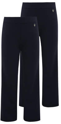 George Girls Navy Straight Leg Jersey School Trouser 2 Pack