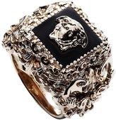 Versace Men's Gold tone Barocco Medusa Head Square Ring Black