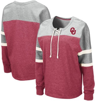 Colosseum Women's Crimson Oklahoma Sooners Manolo Lace-Up French Terry Pullover Sweatshirt