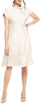 Gal Meets Glam Aimee Texture Checked Tie Neck Fit & Flare Dress