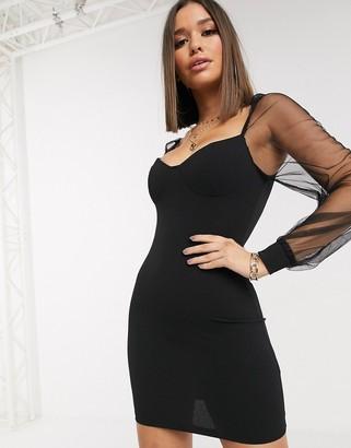 Parisian dress with sheer organza sleeves
