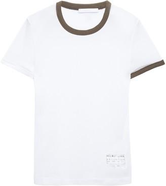 Helmut Lang Appliqued Two-tone Mesh T-shirt