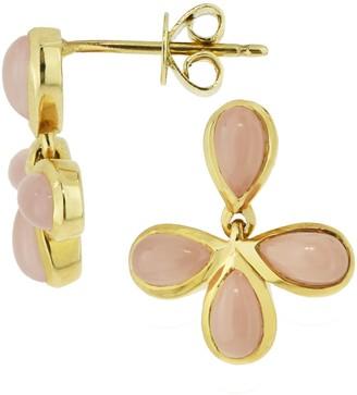 14K Gold Guava Quartz Flower Post Earrings