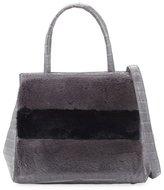 Nancy Gonzalez Daisy Striped Mink Fur & Crocodile Tote Bag