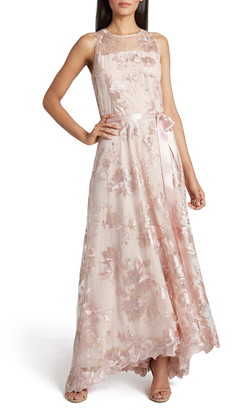 Tahari Embroidered High/Low Gown