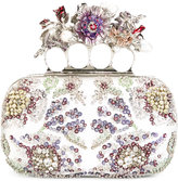 Alexander McQueen Knuckle embroidered box clutch - women - Silk/Leather/Viscose - One Size