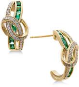 Macy's Emerald (7/8 ct. t.w.) and Diamond (1/4 ct. t.w.) Drop Earrings in 14k Gold