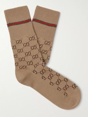 Gucci Logo-Jacquard Cotton-Blend Socks - Men - Brown