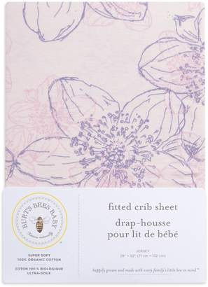 Burt's Bees Abstract Blackberry Floral Print Organic Cotton BEESNUG Fitted Crib Sheet