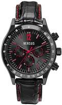 Versace Versus Men's Quartz Watch with Black Dial Chronograph Display and Black Leather Strap SGC04 0012
