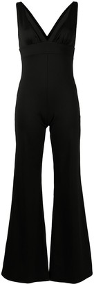 Fisico V-neck gathered jumpsuit