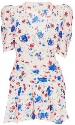 LoveShackFancy Arlo Puff-Sleeve Floral Mini Dress