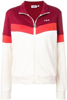 Fila Rhubarb Whitecap Polyester and Cotton Nantale Track Jacket - XS - Red/White/Orange