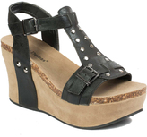 Pierre Dumas Black Distressed Hester Buckle Sandal